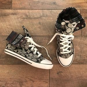 Coach Bonney Black Tartan Plaid Hi-Top Sneakers